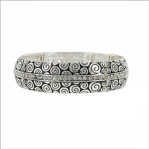Designer Texture W Stone Stretch Bracelet #038373