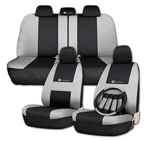 Zone Tech Set of Gray and Black Car Interior Covers - 100% Waterproof and Breathable Universal Fit Cover Seat Covers + Slip On Steering Wheel Covers + 4 Comfy Seat Belt Covers Safety Protectors Set (Leather Racing Seat Covers compare prices)