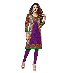 Stylish Girls Women Cotton Printed Unstitched Kurti Fabric (SG_K1017_Red_Free Size)