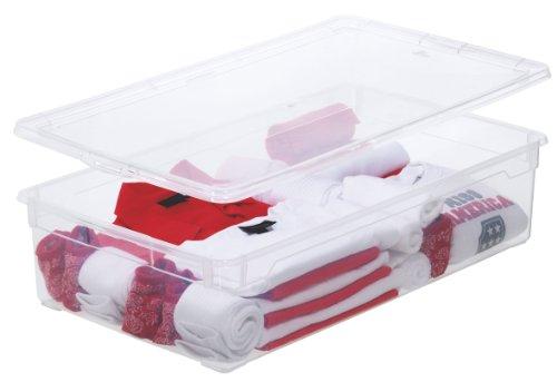 Aufbewahrungsbox Clear Box Blanket 30 L. von Rotho mit Deckel- QR-Code AppMyBox - 30 L. Volumen - (LxBxH) 70.5x40x16.5 cm - transparent - stapelbar - Kunststoff/Plastik (PP) - Div. Größen