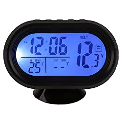 Docooler High Quality Multi-Function Digital 12V Car Voltage Alarm Temperature Thermometer Clock LCD Monitor Battery Meter Detector Display (Blue)