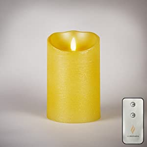 """Luminara Goldenrod 5"""" Moving Wick Flameless Candles with Remote and Built in Five Hour Timer"""