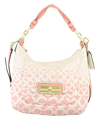 Coach Kristen Op Art Ombre Hobo Handbag 16793 Light Peony Pink