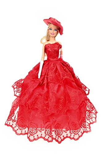 Banana Kong Doll's Red Wedding Gown Princess Dress + Hat + Gloves - 1