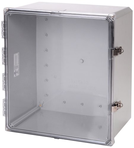"Integra H181610Hcfll Premium Line Enclosure, Hinged, Locking Latch Cover, Clear Cover, Mounting Flange, 18"" Height, 16"" Width, 10"" Depth"
