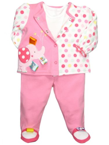 Taggies Baby Girl 3 Piece Elephant Footed Pants Outfit By Taggies - Pink - 3 Mths / 8-12 Lbs front-1031947