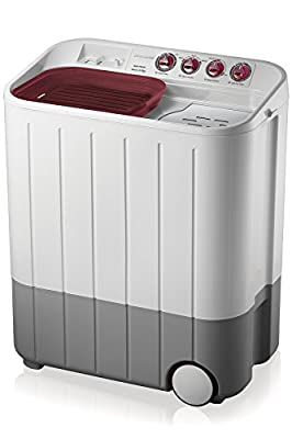 Samsung WT657QPNDPGXTL Semi-automatic Twin-tub Washing Machine (6.5 kg, White and Maroon)
