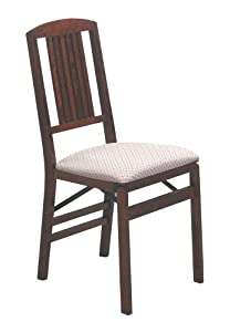 Simple Mission Folding Chair in Warm Cherry Finish - Set of 2