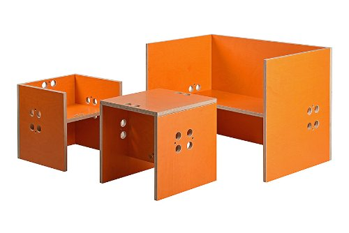 Kindersitzgruppe – Kindermöbel – 2 Kinderstühle/Hocker + 1 Kindertisch/Bank. Tisch orange, Farbe Stühle frei wählbar. (Stühle / Hocker orange, Tisch / Bank orange) jetzt kaufen