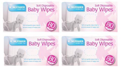 320 HIGH QUALITY KINGFISHER SOFT & GENTLE DISPOSABLE BABY WIPES. 4 PACKS OF 80.