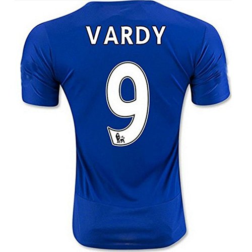 2016 2017 Premier League UEFA Inghilterra Leicester City FC 9 Jamie Vardy'Football Soccer Jersey Home, colore: azzurro