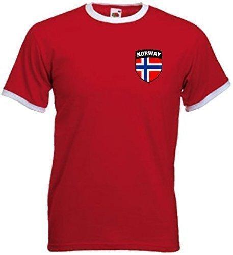 Norvegese Norge norvegese Calcio Calcio Protezione Stemma T-Shirt Maglia - Large