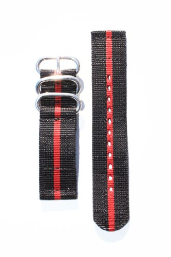 20mm Heavy Duty BLACK/RED Ballistic Nylon 2-PC Strap with Two S/S Rings and S/S Heavy Buckle. Great ..