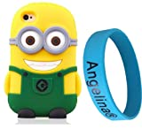 Angelina(TM) Cute Phone Case Popular minion Despicable Me Soft Silicone Phone Case Rubber Cover for iPhone 4 4S Green Color