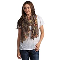Taleen Vintage Floral Shawl Scarf (Taupe Color)