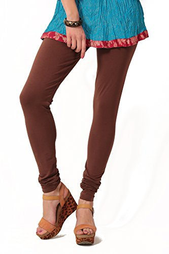 Women's solid Brown Cotton-Lycra Leggings/Churidars