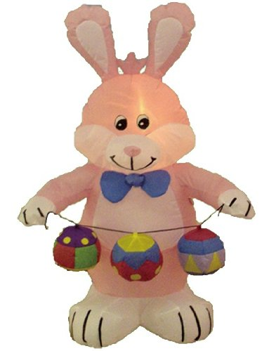 4 Foot Party Inflatable Bunny w / Color Eggs - Yard Decoration