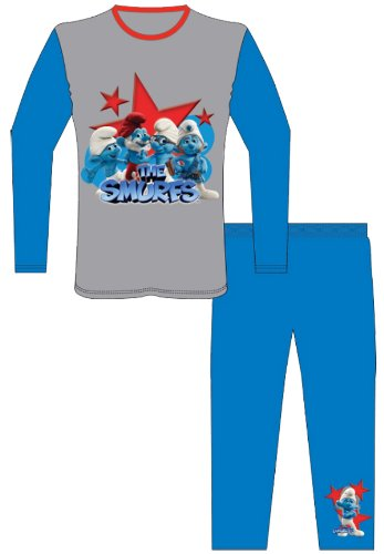 Boys/Girls 100% Blue/Grey Cotton Long Legged Smurf Pyjama Set