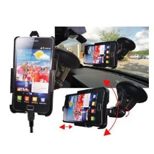totaldigitalstores - Dedicated Windscreen Mount Car Holder Charger Kit for Samsung Galaxy S II 2 i9100 - GSN686