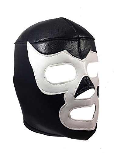 BLACK WHITE DEMON Adult Lucha Libre Wrestling Mask (pro-fit) Costume Wear