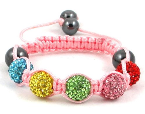 05-Ball Children Kids Girls Boys Petites Teen Multi Colour Bead Shamballa Bracelet on Pink String