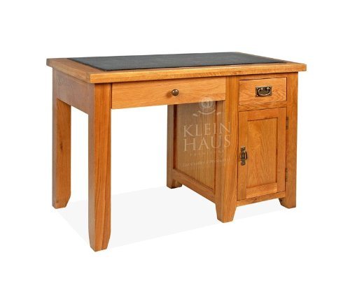 Oak Furniture - Oak Desk - Single Desk with 1 Drawer, 1 Door, Pull-Out Keyboard Shelf and Brown Bonded Leather Padded Table Top - Sherwood Oak - This Luxury Oak Office Furniture is Handmade from American White Oak by Klein Haus. This product comes with St