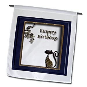 fl_12233_1 Beverly Turner Design - Copper Cat, Happy Birthday - Flags - 12 x 18 inch Garden Flag