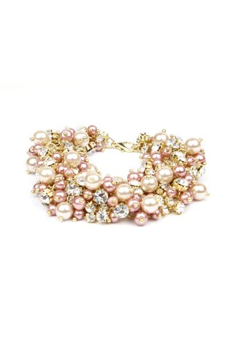 Nina Bridal Peony Blush Tea Rose Colored Glass Pearl and Crystal Bracelet - Jewelry Accessory