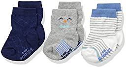 Robeez Boys\' 3pk Crew Socks, Cotton and Spandex Blend with Non Skid Application, Blue Print, 6-12 Months
