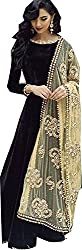 HMP Fashion rakhi special salwar anarkali black dress material/ embroidery work/ festival special