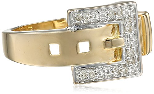 10k Yellow Gold Diamond-Accent Buckle Ring, Size 7