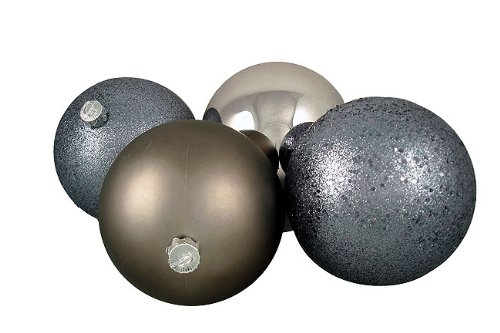 Gunmetal Gray Shatterproof 4-Finish 4-Piece Christmas Ball Ornaments by Vickerman