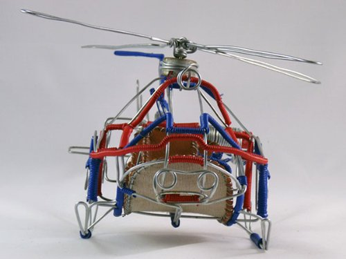 "Wire art helicopter model ""African Sky"""