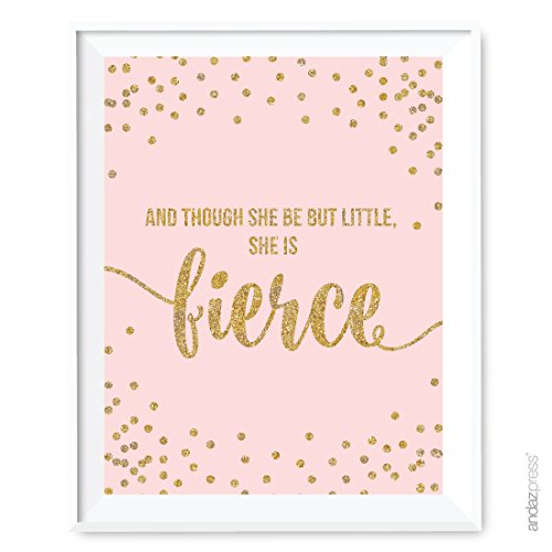 Andaz Press Blush Pink Gold Glitter Girl's 1st Birthday Party Collection, Wall Art Gift, 8.5x11-inch, And though she be but little, she is fierce, 1-Pack, Unframed, Baby Shower Nursery Decor (Always Your Little Girl Frame compare prices)