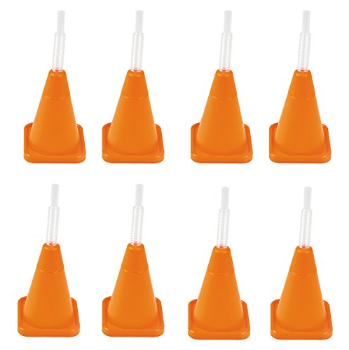 8 Construction Party Cone Plastic Reusable Cups with Straws - Party Cups (Construction Cone Party compare prices)