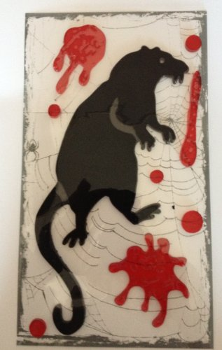 Creepy Rat with Bloody Gel Self Stick Window Halloween Decor