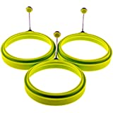 YumYum Utensils Premium Silicone Egg Ring / Pancake Mold. Box of 3 Green Round Nonstick Egg Rings.