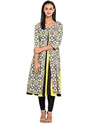 Solid Kali With Overlap Printed Kurti X-Large