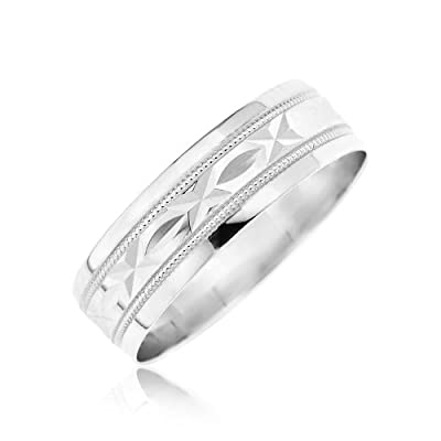 Kareco 9ct 6mm Diamond Cut D Shape Message Wedding Band Ring 'Sealed with a Kiss'