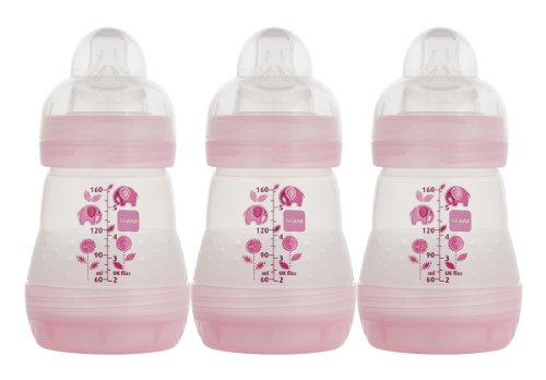 MAM 3 Count BPA Free Bottle, Girl, 5 Ounce