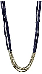 Lucky Brand Dark Blue and Gold Beaded Necklace