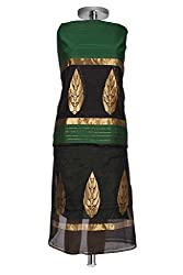 Green & Black Handwoven Chanderi Cotton Silk Suit Fabric with heavy work (2 piece)