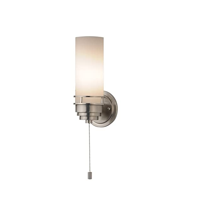 contemporary single light sconce with pull chain switch. Black Bedroom Furniture Sets. Home Design Ideas