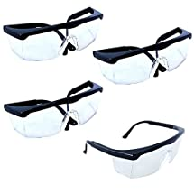 HQRP Clear Lens UV Safety Glasses (Pack of 4) for Welders, Paint & Resin Curers, Lighting Technicians, Lithographic & Printing Workers + HQRP UV Meter