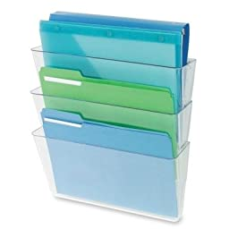 Three-Pocket File Partition Set with Brackets, Letter, Clear by DEFLECT-O (Catalog Category: Files & Filing Supplies / Files)