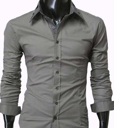 GL Fashions Men's Casual Long Sleeve Stripe Collar Dress Shirt - Grey - XL