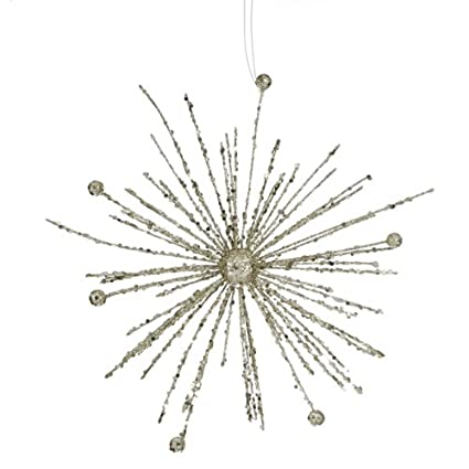 Champagne Glitter Sparkle Starburst Snowflake Christmas Ornament