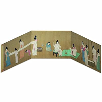 Fold-out Greeting Card - Court Ladies Preparing Newly Woven Silk||EVAEX