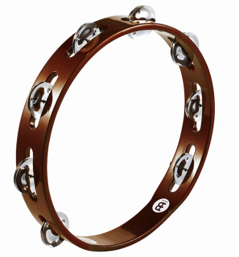 Meinl Percussion TA1AB Traditional 10-Inch Wood Tambourine with Single Row Steel Jingles