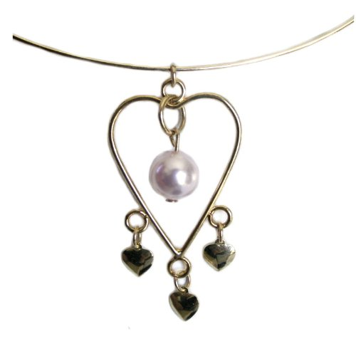 Adjustable Wire Heart Collar Necklace with Pink SWAROVSKI ELEMENTS Pearl